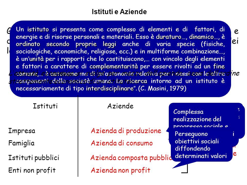 Azienda di erogazione Gli Istituti sono Insiemi di elementi, di fattori, di energie e di risorse materiali ed immateriali che perseguono il fine dei l