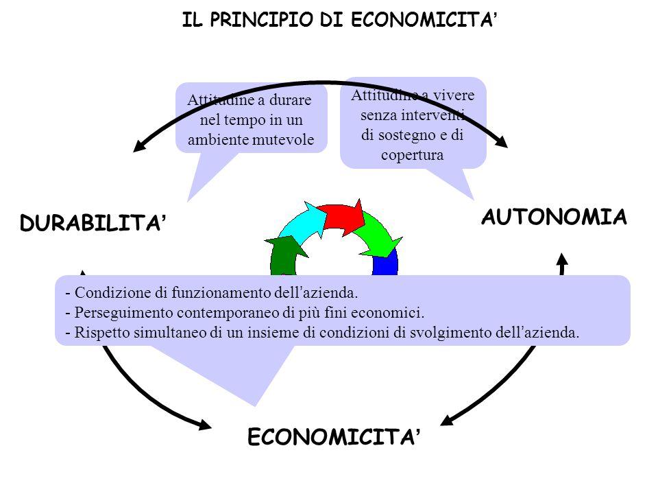 DURABILITA' ECONOMICITA' AUTONOMIA Attitudine a vivere senza interventi di sostegno e di copertura Attitudine a durare nel tempo in un ambiente mutevo