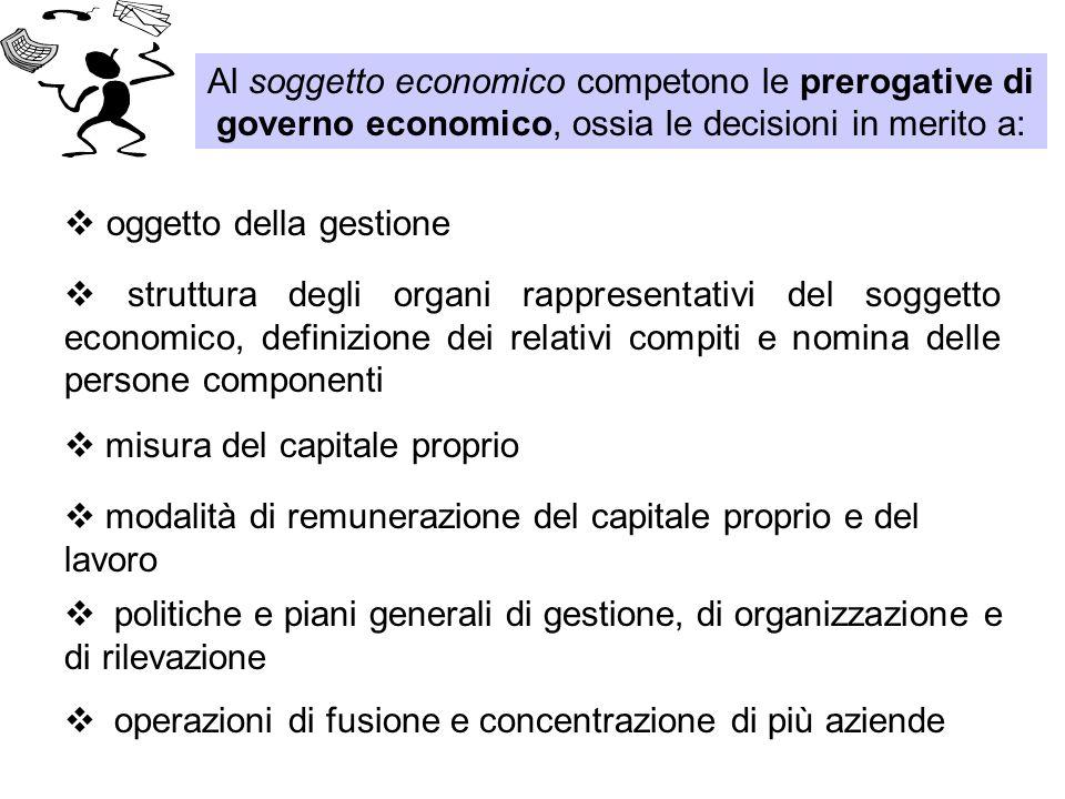 Al soggetto economico competono le prerogative di governo economico, ossia le decisioni in merito a:  operazioni di fusione e concentrazione di più a