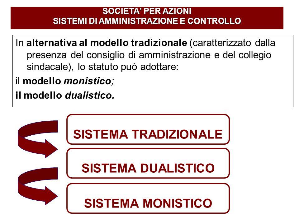 SOCIETA' PER AZIONI SISTEMI DI AMMINISTRAZIONE E CONTROLLO SISTEMA TRADIZIONALE SISTEMA DUALISTICO SISTEMA MONISTICO In alternativa al modello tradizi
