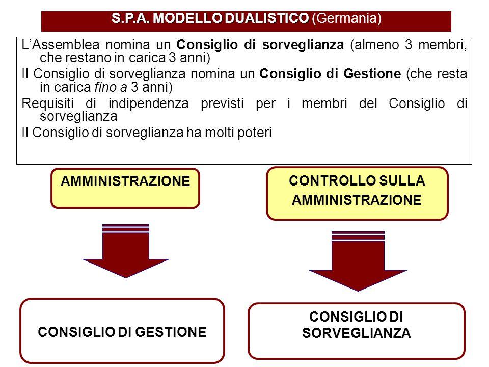 S.P.A. MODELLO DUALISTICO S.P.A. MODELLO DUALISTICO (Germania) AMMINISTRAZIONE CONSIGLIO DI GESTIONE L'Assemblea nomina un Consiglio di sorveglianza (