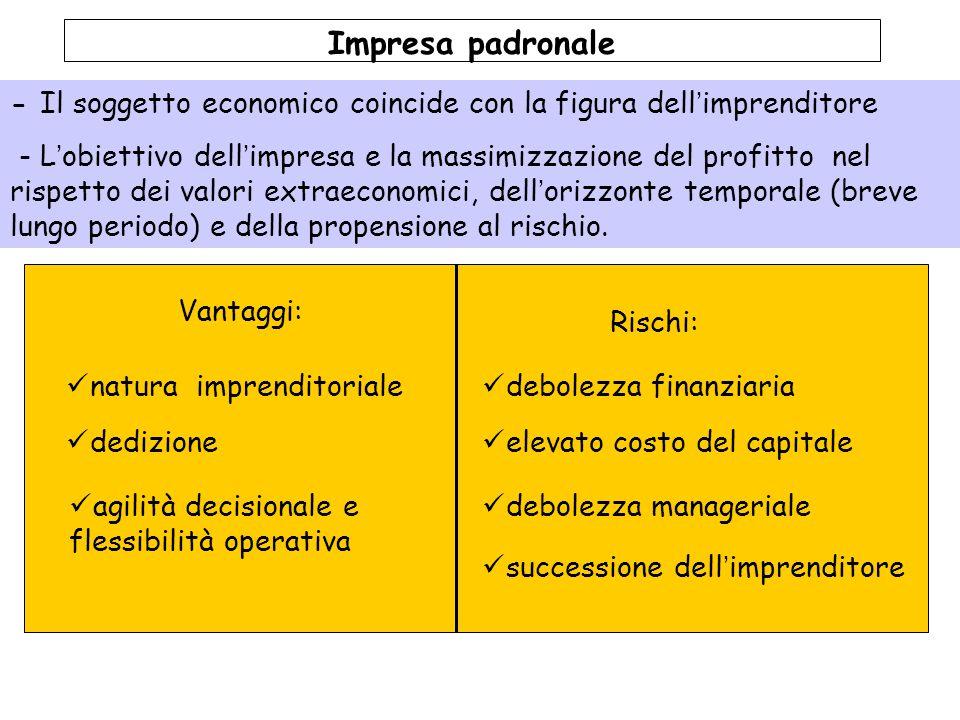 Vantaggi: Rischi: Impresa padronale - Il soggetto economico coincide con la figura dell'imprenditore - L'obiettivo dell'impresa e la massimizzazione d