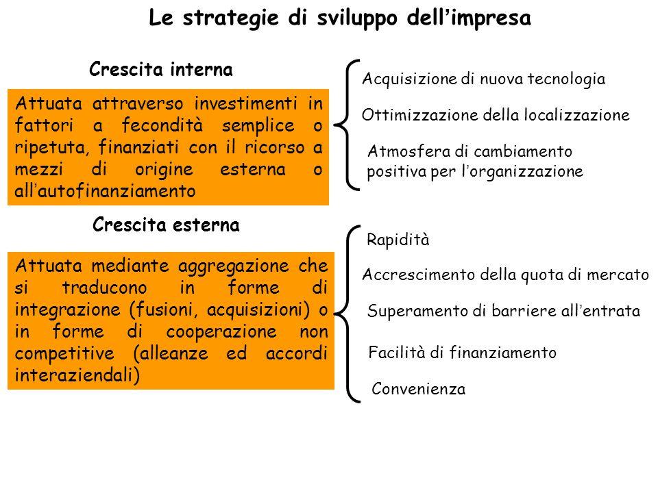 Le strategie di sviluppo dell'impresa Accrescimento della quota di mercato Superamento di barriere all'entrata Facilità di finanziamento Convenienza C