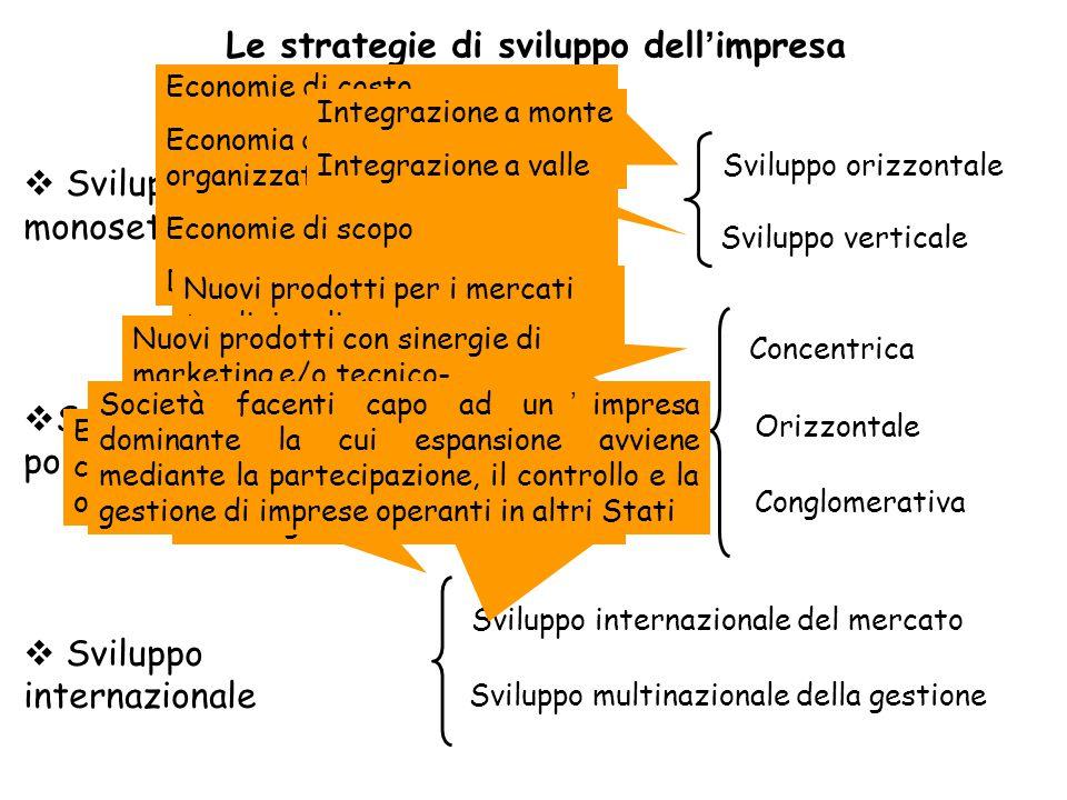 Sviluppo monosettoriale  Sviluppo polisettoriale  Sviluppo internazionale Sviluppo verticale Sviluppo multinazionale della gestione Conglomerativa