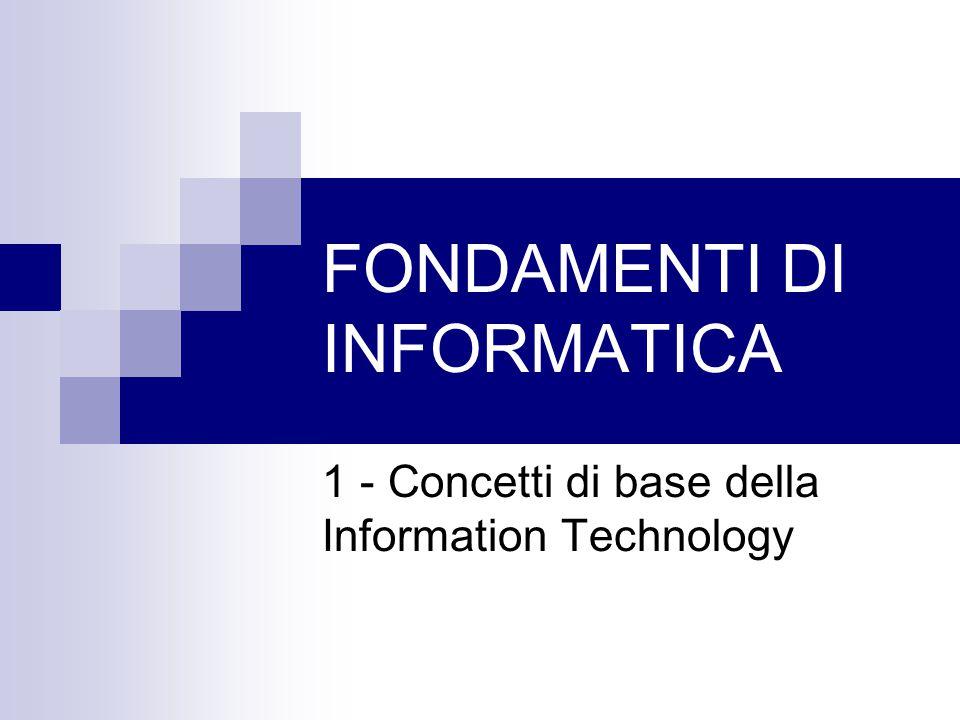 FONDAMENTI DI INFORMATICA 1 - Concetti di base della Information Technology