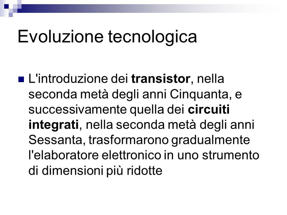 Evoluzione tecnologica L'introduzione dei transistor, nella seconda metà degli anni Cinquanta, e successivamente quella dei circuiti integrati, nella
