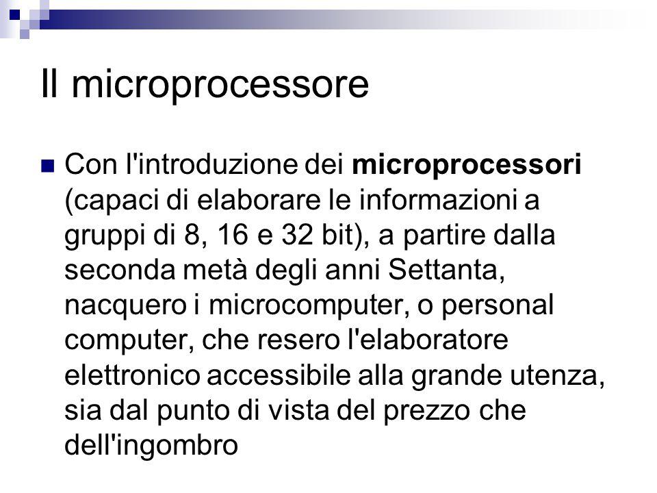 Il microprocessore Con l'introduzione dei microprocessori (capaci di elaborare le informazioni a gruppi di 8, 16 e 32 bit), a partire dalla seconda me