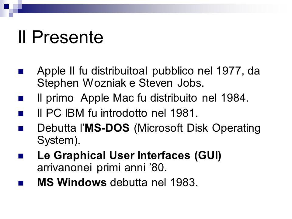 Il Presente Apple II fu distribuitoal pubblico nel 1977, da Stephen Wozniak e Steven Jobs. Il primo Apple Mac fu distribuito nel 1984. Il PC IBM fu in