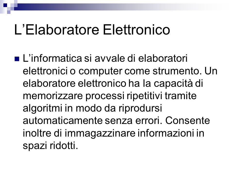 L'Elaboratore Elettronico L'informatica si avvale di elaboratori elettronici o computer come strumento. Un elaboratore elettronico ha la capacità di m