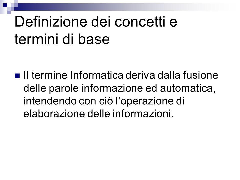 Definizione dei concetti e termini di base Il termine Informatica deriva dalla fusione delle parole informazione ed automatica, intendendo con ciò l'o