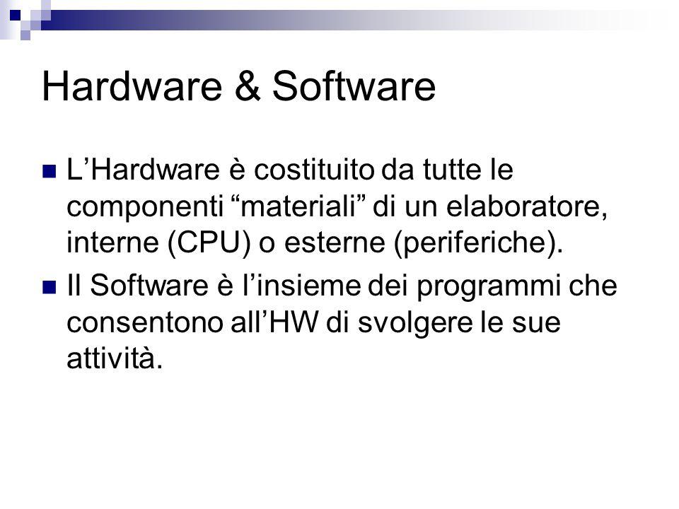 """Hardware & Software L'Hardware è costituito da tutte le componenti """"materiali"""" di un elaboratore, interne (CPU) o esterne (periferiche). Il Software è"""
