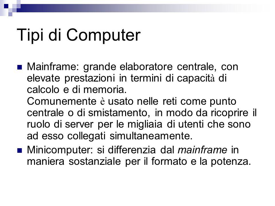 Tipi di Computer Mainframe: grande elaboratore centrale, con elevate prestazioni in termini di capacit à di calcolo e di memoria. Comunemente è usato