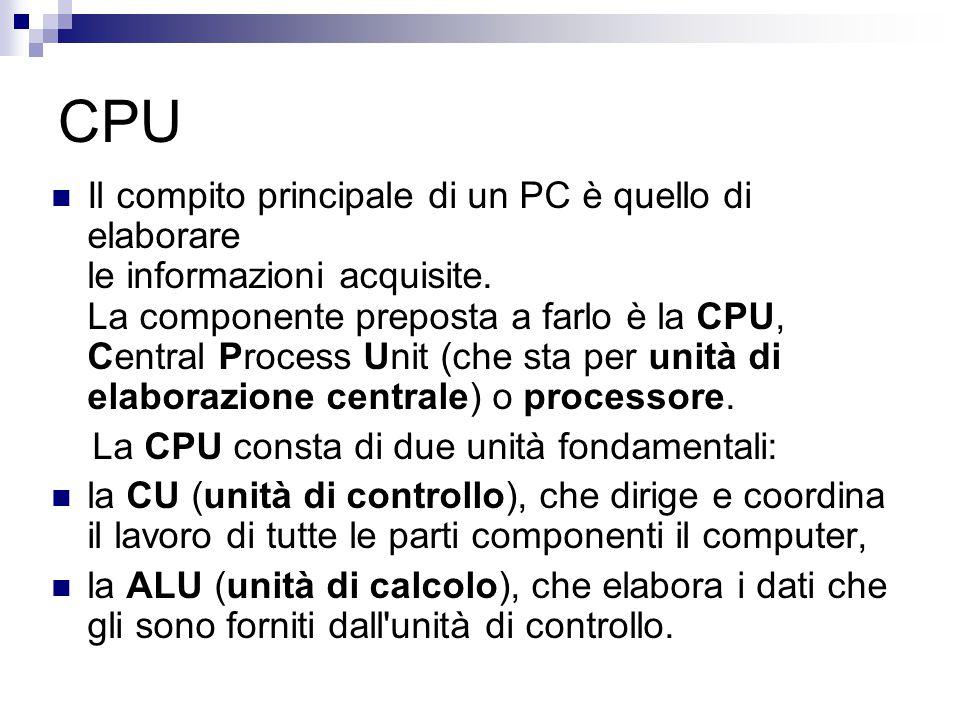 CPU Il compito principale di un PC è quello di elaborare le informazioni acquisite. La componente preposta a farlo è la CPU, Central Process Unit (che