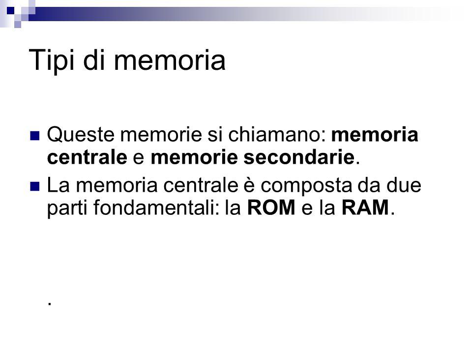 Tipi di memoria Queste memorie si chiamano: memoria centrale e memorie secondarie. La memoria centrale è composta da due parti fondamentali: la ROM e