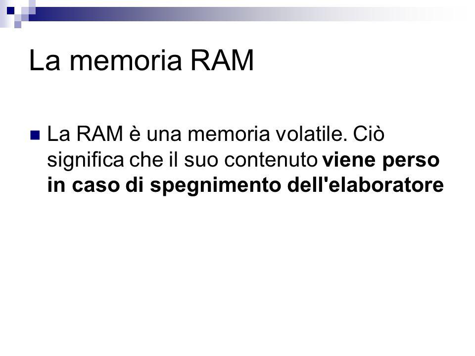 La memoria RAM La RAM è una memoria volatile. Ciò significa che il suo contenuto viene perso in caso di spegnimento dell'elaboratore