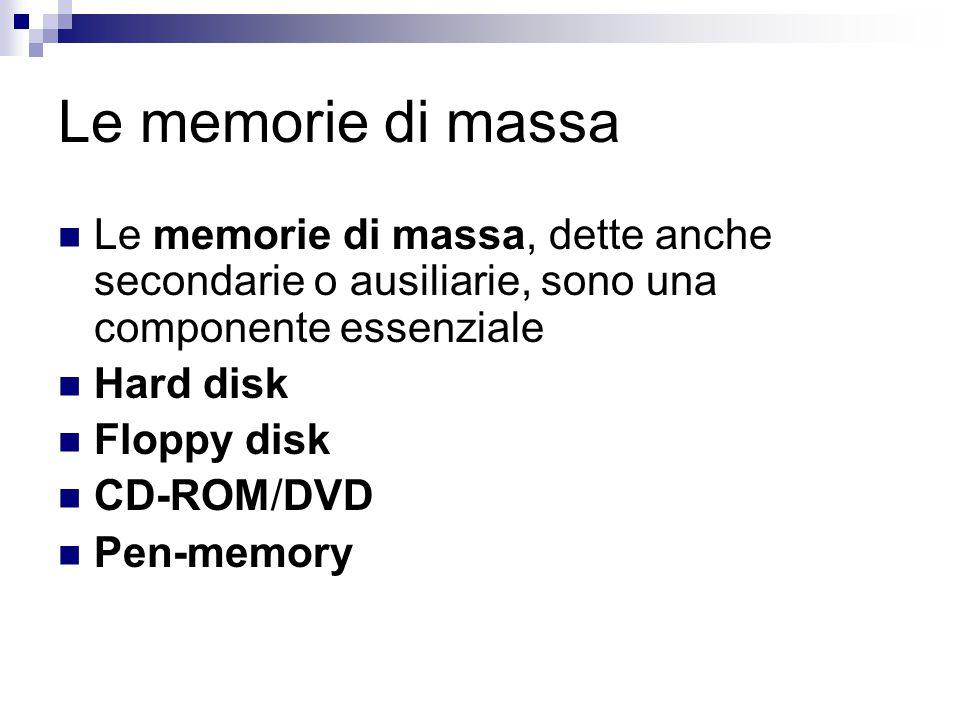 Le memorie di massa Le memorie di massa, dette anche secondarie o ausiliarie, sono una componente essenziale Hard disk Floppy disk CD-ROM/DVD Pen-memo