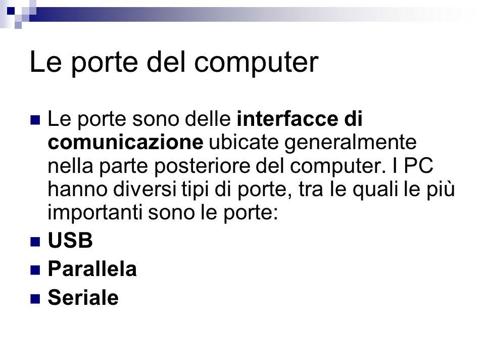 Le porte del computer Le porte sono delle interfacce di comunicazione ubicate generalmente nella parte posteriore del computer. I PC hanno diversi tip