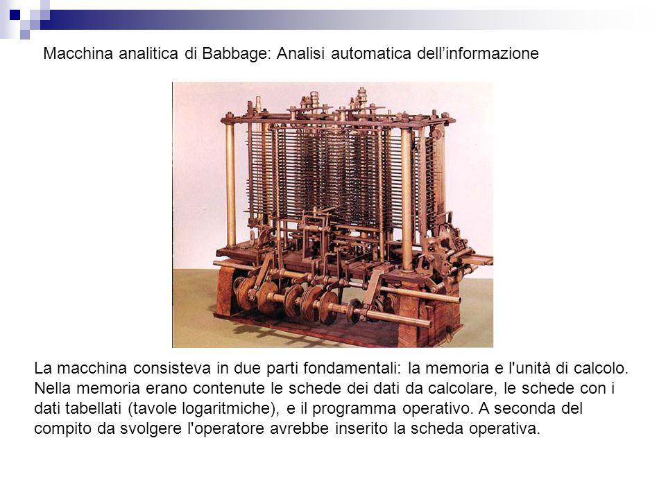 Macchina analitica di Babbage: Analisi automatica dell'informazione La macchina consisteva in due parti fondamentali: la memoria e l'unità di calcolo.