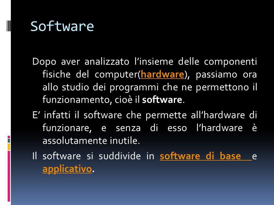 Software Dopo aver analizzato l'insieme delle componenti fisiche del computer(hardware), passiamo ora allo studio dei programmi che ne permettono il f