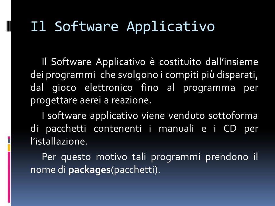Il Software Applicativo Il Software Applicativo è costituito dall'insieme dei programmi che svolgono i compiti più disparati, dal gioco elettronico fi