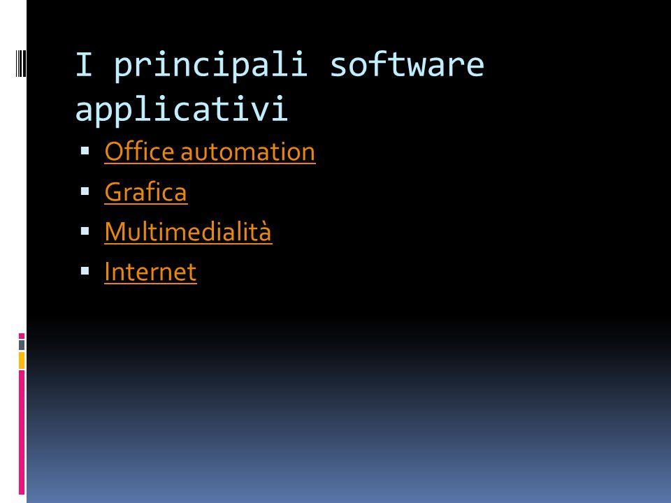 I principali software applicativi  Office automation Office automation  Grafica Grafica  Multimedialità Multimedialità  Internet Internet