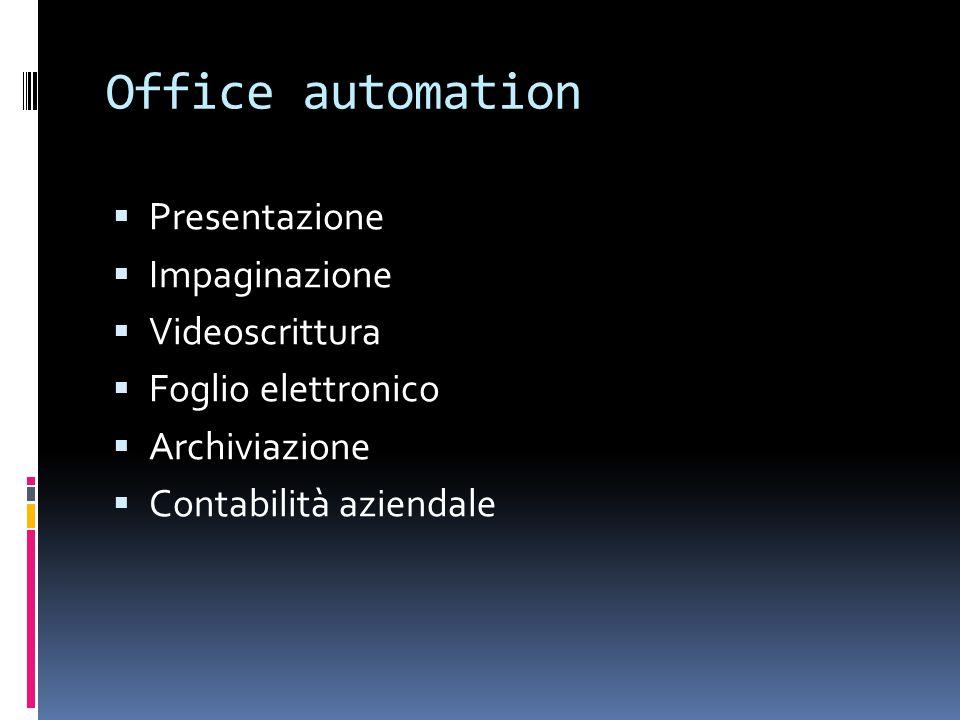 Office automation  Presentazione  Impaginazione  Videoscrittura  Foglio elettronico  Archiviazione  Contabilità aziendale