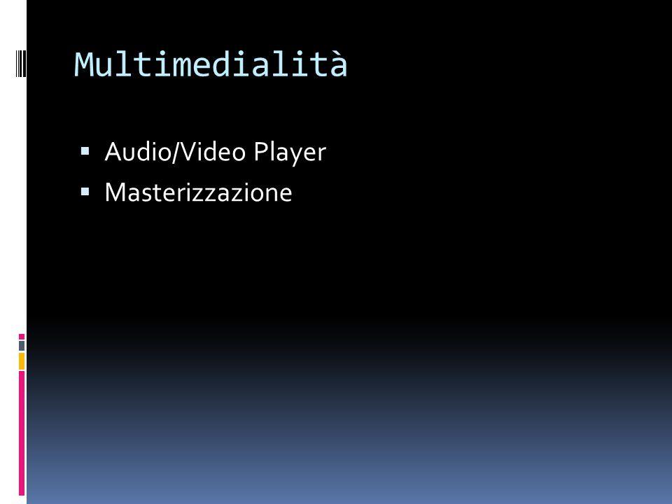 Multimedialità  Audio/Video Player  Masterizzazione
