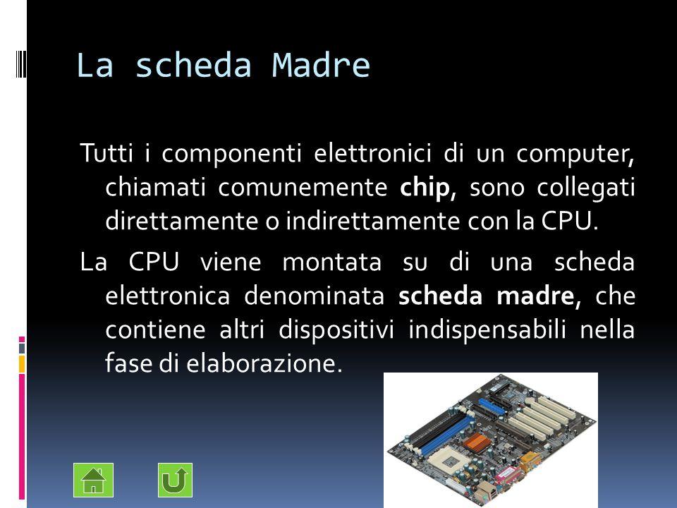 La scheda Madre Tutti i componenti elettronici di un computer, chiamati comunemente chip, sono collegati direttamente o indirettamente con la CPU. La