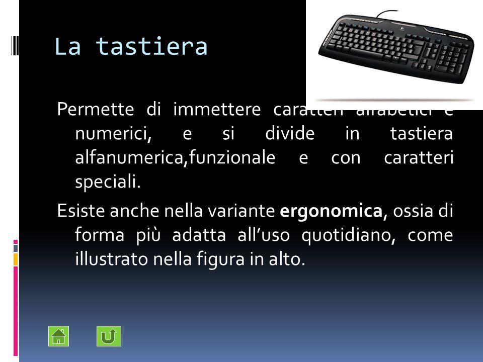 La tastiera Permette di immettere caratteri alfabetici e numerici, e si divide in tastiera alfanumerica,funzionale e con caratteri speciali. Esiste an