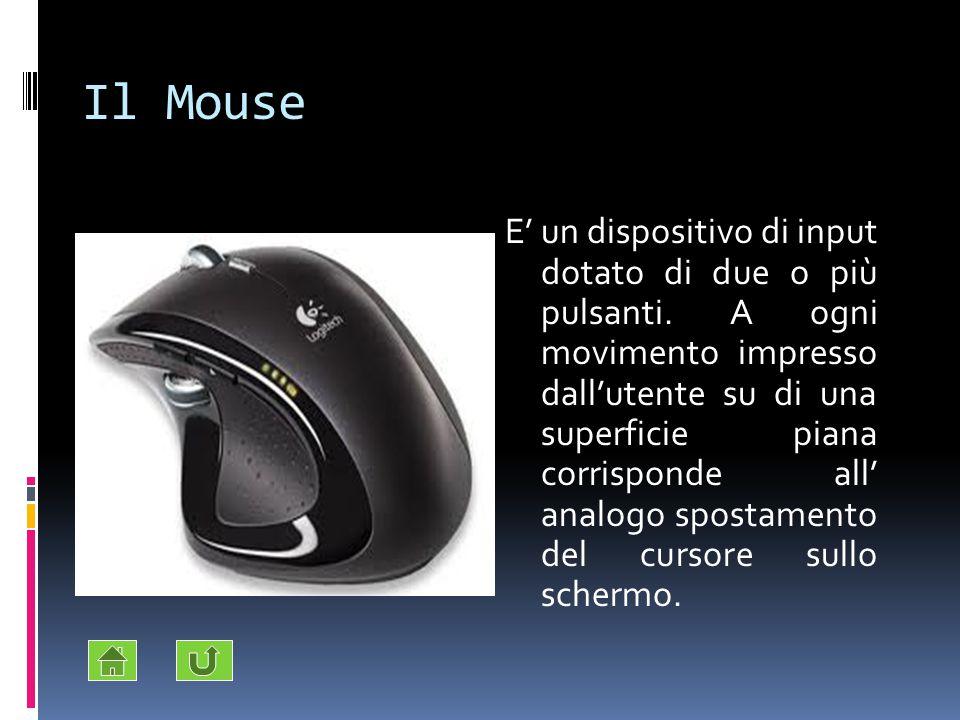 Il Mouse E' un dispositivo di input dotato di due o più pulsanti. A ogni movimento impresso dall'utente su di una superficie piana corrisponde all' an