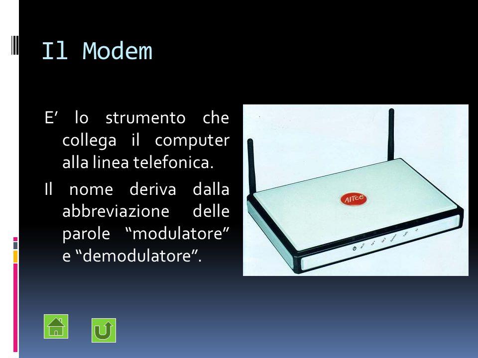 """Il Modem E' lo strumento che collega il computer alla linea telefonica. Il nome deriva dalla abbreviazione delle parole """"modulatore"""" e """"demodulatore""""."""