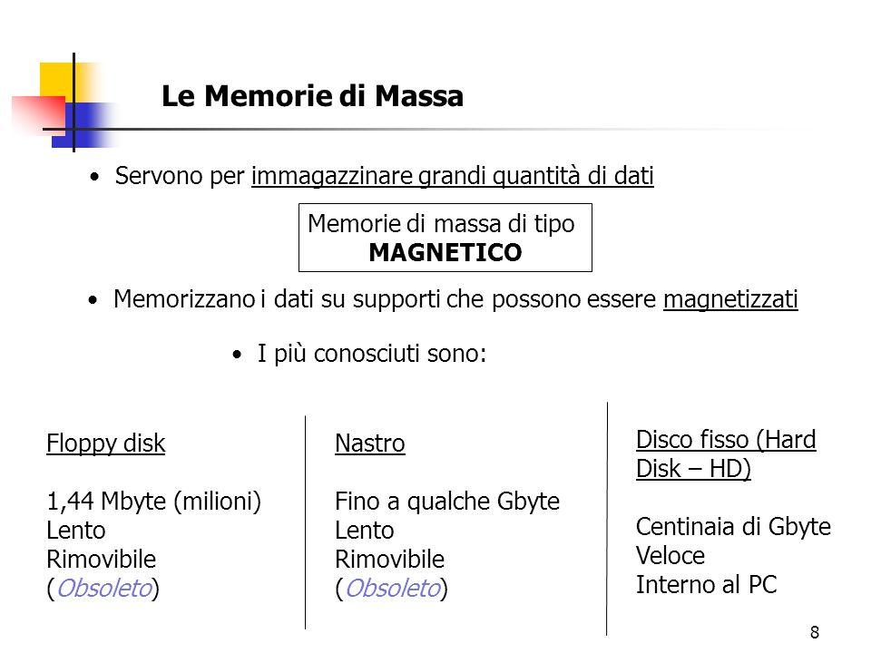 8 Le Memorie di Massa Servono per immagazzinare grandi quantità di dati Memorizzano i dati su supporti che possono essere magnetizzati I più conosciuti sono: Memorie di massa di tipo MAGNETICO Floppy disk 1,44 Mbyte (milioni) Lento Rimovibile (Obsoleto) Nastro Fino a qualche Gbyte Lento Rimovibile (Obsoleto) Disco fisso (Hard Disk – HD) Centinaia di Gbyte Veloce Interno al PC