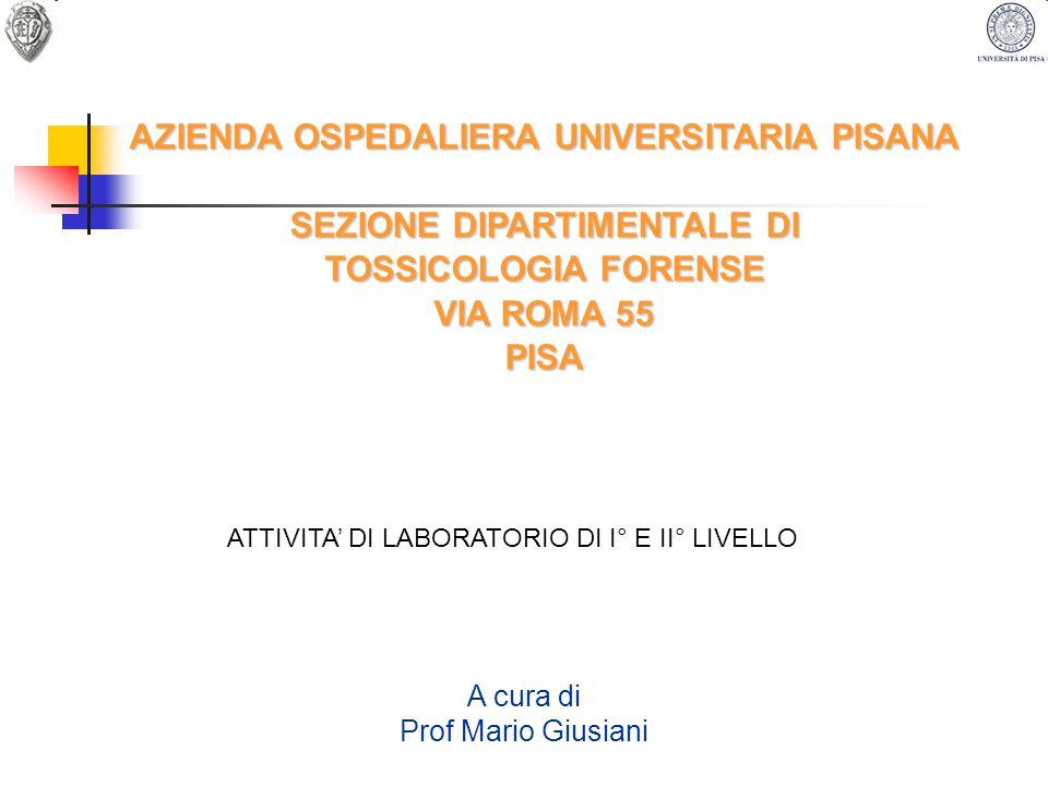SEZIONE DI TOSSICOLOGIA FORENSE La sezione attualmente si trova collocata in Pisa via Roma 55 ed è costituita da: Portineria Segreteria Direzione Sala prelievi Laboratorio preparazioni Laboratorio cromatografia e spettrofotometria Laboratorio immunochimica