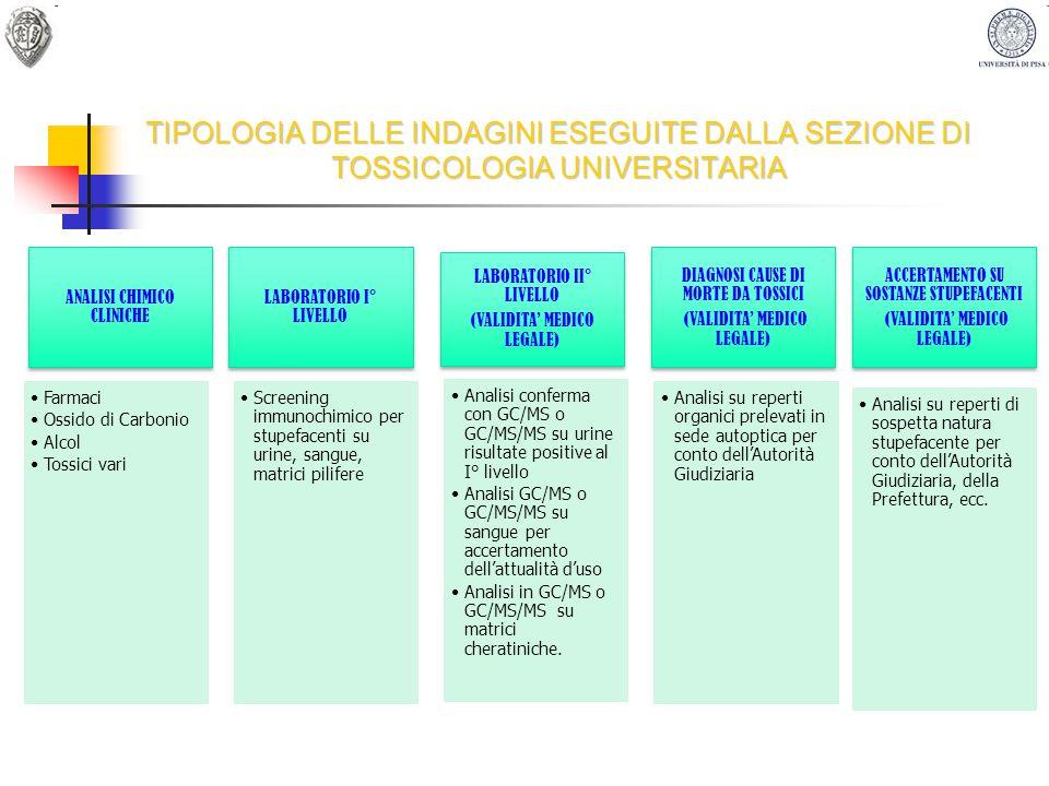 TIPOLOGIA DELLE INDAGINI ESEGUITE DALLA SEZIONE DI TOSSICOLOGIA UNIVERSITARIA
