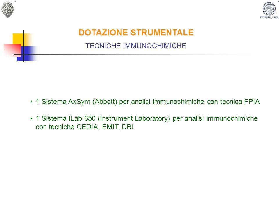 DOTAZIONE STRUMENTALE TECNICHE IMMUNOCHIMICHE 1 Sistema AxSym (Abbott) per analisi immunochimiche con tecnica FPIA 1 Sistema ILab 650 (Instrument Labo