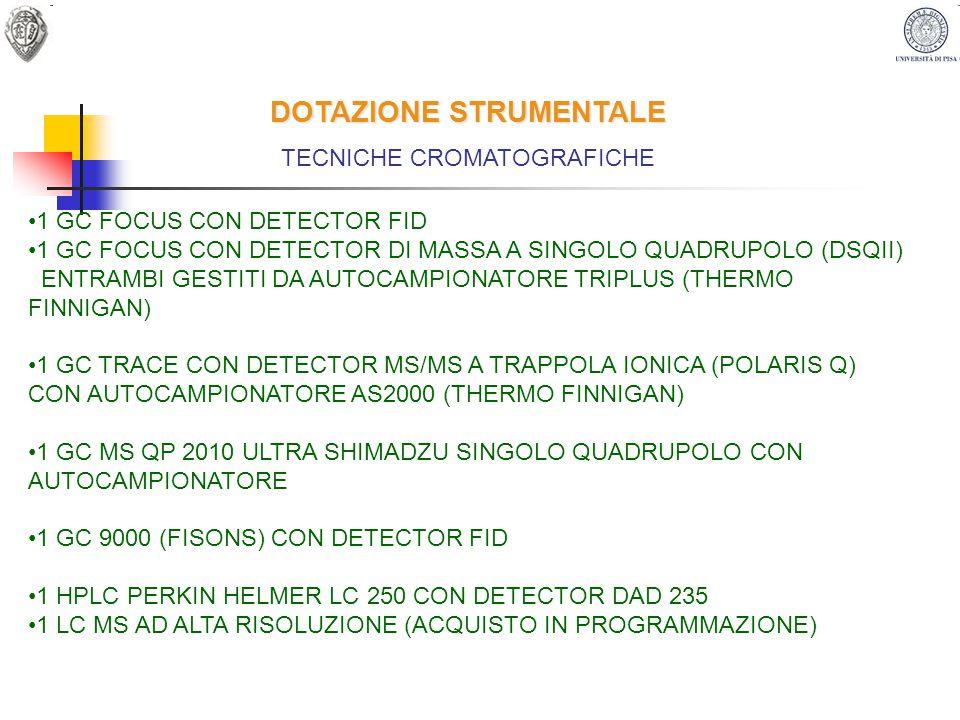 DOTAZIONE STRUMENTALE TECNICHE CROMATOGRAFICHE 1 GC FOCUS CON DETECTOR FID 1 GC FOCUS CON DETECTOR DI MASSA A SINGOLO QUADRUPOLO (DSQII) ENTRAMBI GEST
