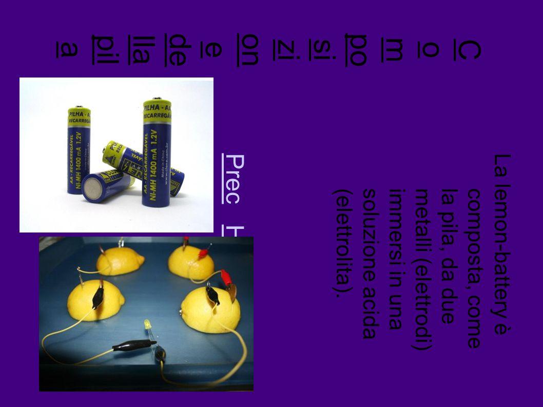 C o m po sizi on e de llapil a La lemon-battery è composta, comela pila, da duemetalli (elettrodi)immersi in unasoluzione acida(elettrolita).