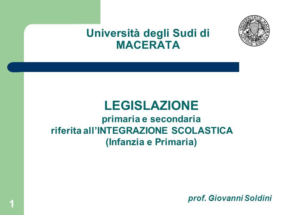 Università degli Sudi di MACERATA 1 LEGISLAZIONE primaria e secondaria riferita all'INTEGRAZIONE SCOLASTICA (Infanzia e Primaria) prof.