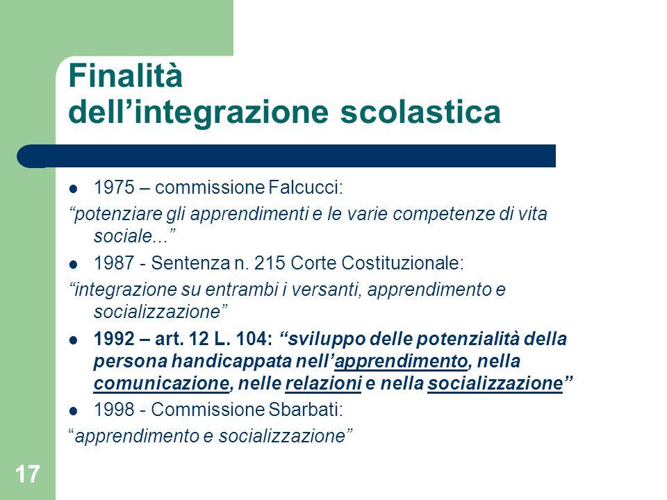Finalità dell'integrazione scolastica 1975 – commissione Falcucci: potenziare gli apprendimenti e le varie competenze di vita sociale... 1987 - Sentenza n.