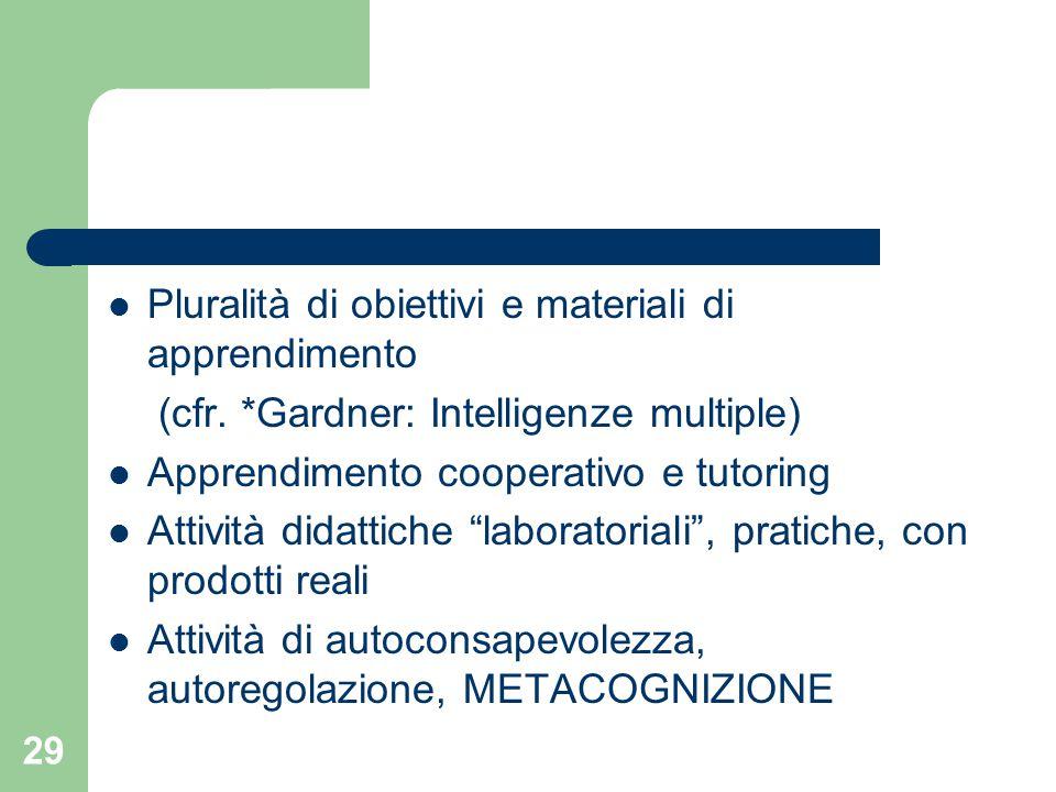 Pluralità di obiettivi e materiali di apprendimento (cfr.