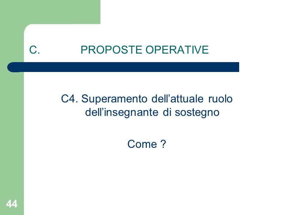 C4. Superamento dell'attuale ruolo dell'insegnante di sostegno Come C. PROPOSTE OPERATIVE 44