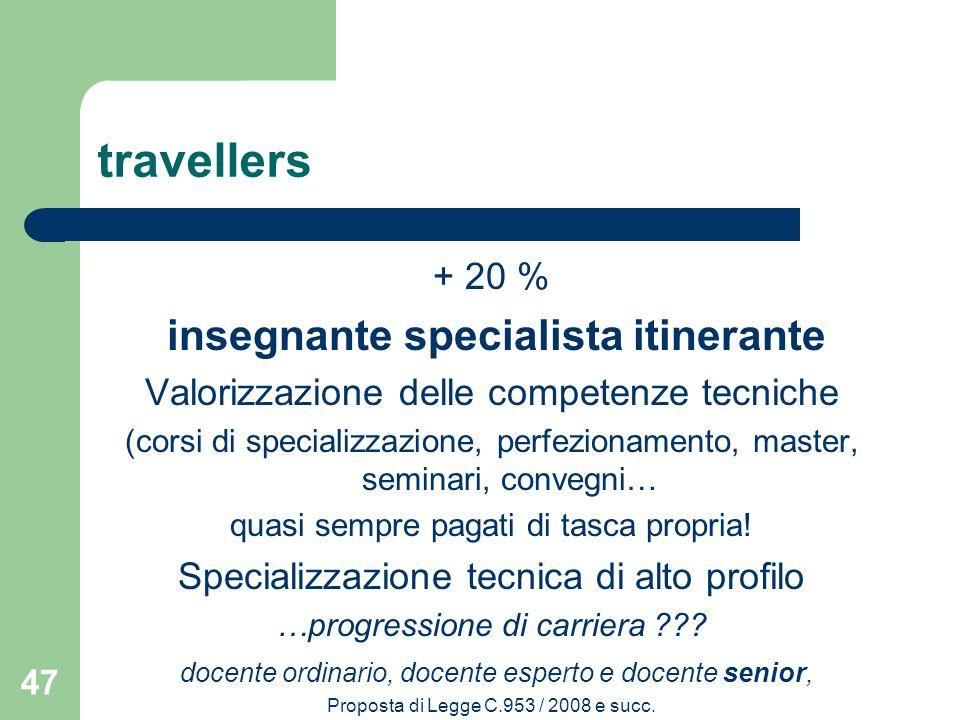 travellers + 20 % insegnante specialista itinerante Valorizzazione delle competenze tecniche (corsi di specializzazione, perfezionamento, master, seminari, convegni… quasi sempre pagati di tasca propria.