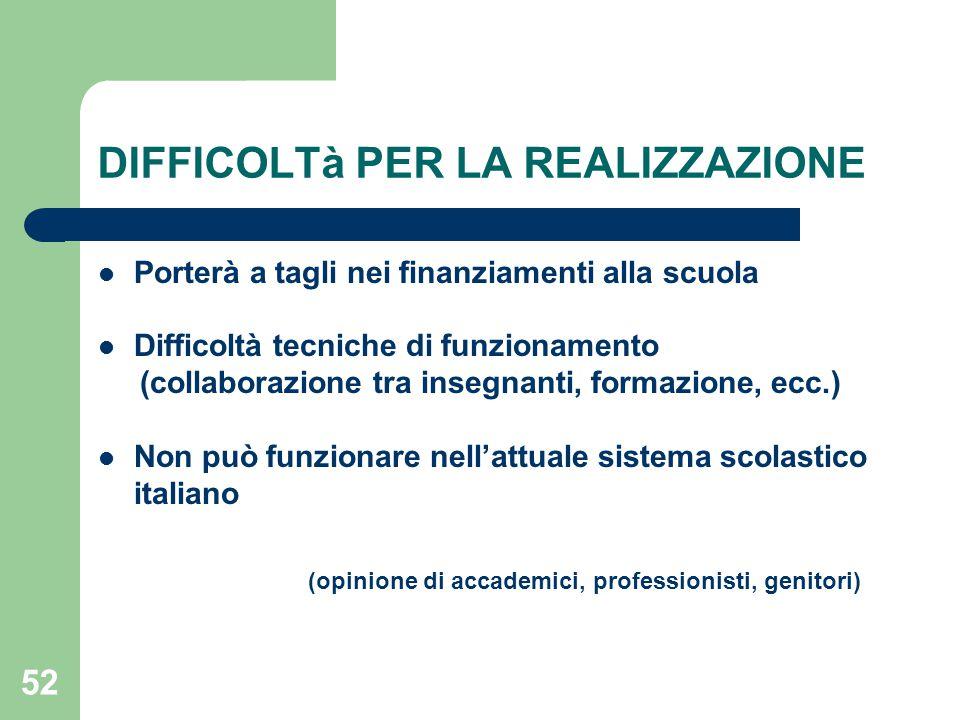 DIFFICOLTà PER LA REALIZZAZIONE Porterà a tagli nei finanziamenti alla scuola Difficoltà tecniche di funzionamento (collaborazione tra insegnanti, formazione, ecc.) Non può funzionare nell'attuale sistema scolastico italiano (opinione di accademici, professionisti, genitori) 52