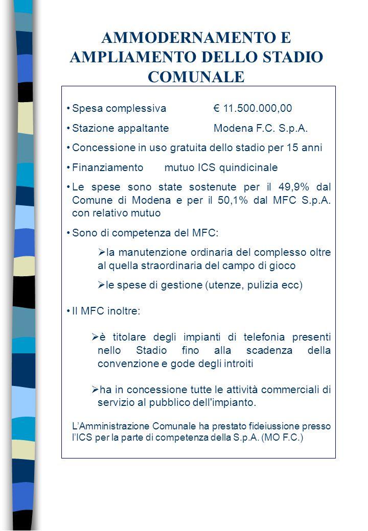 Spesa complessiva€ 11.500.000,00 Stazione appaltanteModena F.C.