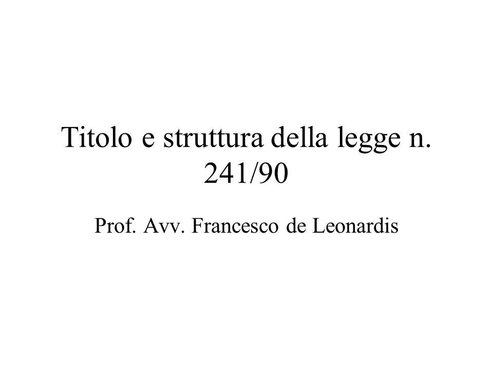 Titolo e struttura della legge n. 241/90 Prof. Avv. Francesco de Leonardis