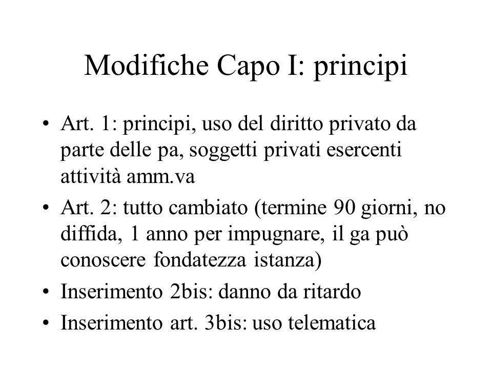 Modifiche Capo I: principi Art. 1: principi, uso del diritto privato da parte delle pa, soggetti privati esercenti attività amm.va Art. 2: tutto cambi