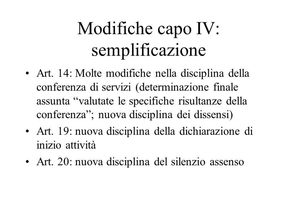 """Modifiche capo IV: semplificazione Art. 14: Molte modifiche nella disciplina della conferenza di servizi (determinazione finale assunta """"valutate le s"""