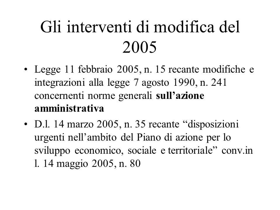 Gli interventi di modifica del 2005 Legge 11 febbraio 2005, n. 15 recante modifiche e integrazioni alla legge 7 agosto 1990, n. 241 concernenti norme