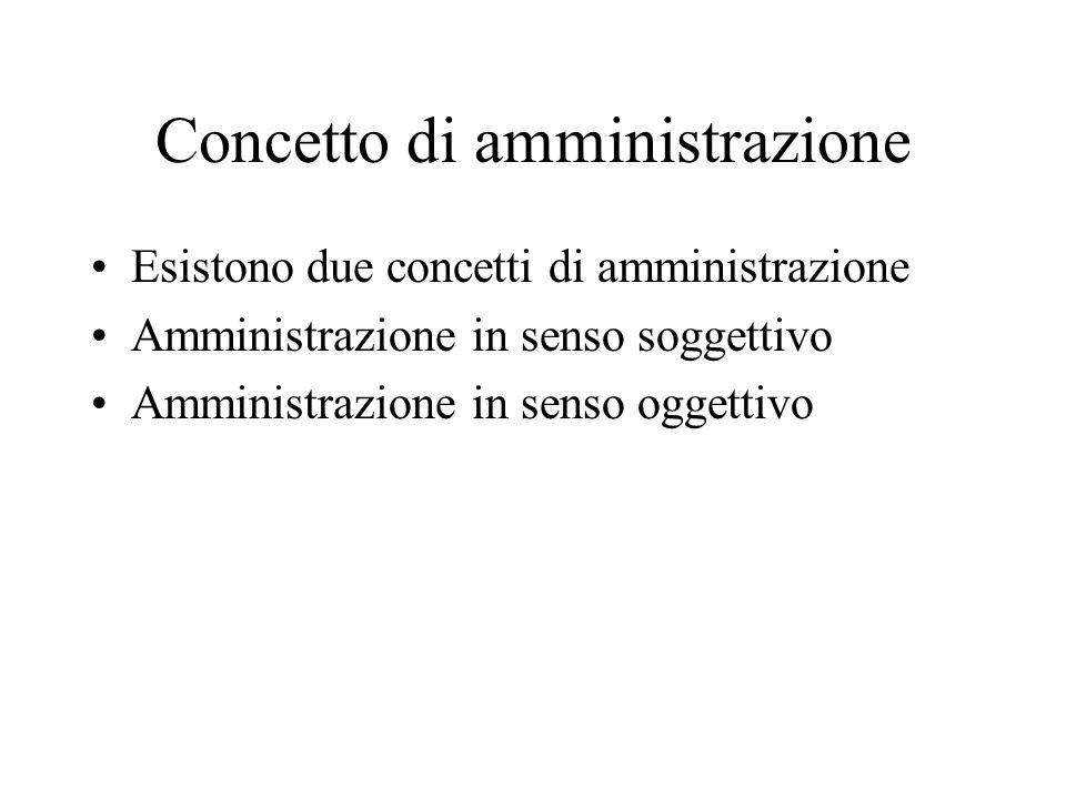 Concetto di amministrazione Esistono due concetti di amministrazione Amministrazione in senso soggettivo Amministrazione in senso oggettivo