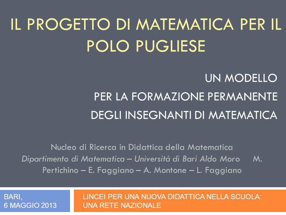 IL PROGETTO DI MATEMATICA PER IL POLO PUGLIESE UN MODELLO PER LA FORMAZIONE PERMANENTE DEGLI INSEGNANTI DI MATEMATICA LINCEI PER UNA NUOVA DIDATTICA NELLA SCUOLA: UNA RETE NAZIONALE Nucleo di Ricerca in Didattica della Matematica Dipartimento di Matematica – Università di Bari Aldo Moro M.